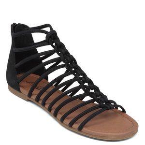 5fee733b26e5 Lucky Brand. Lucky Brand Black Casmett Flat Gladiator Sandal